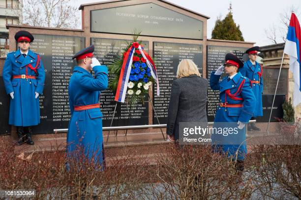 Officials from Republika Srpska attend a ceremony for the Bosnian Serb victims of the Balkan war on January 8 2019 in Banja Luka Bosnia and...
