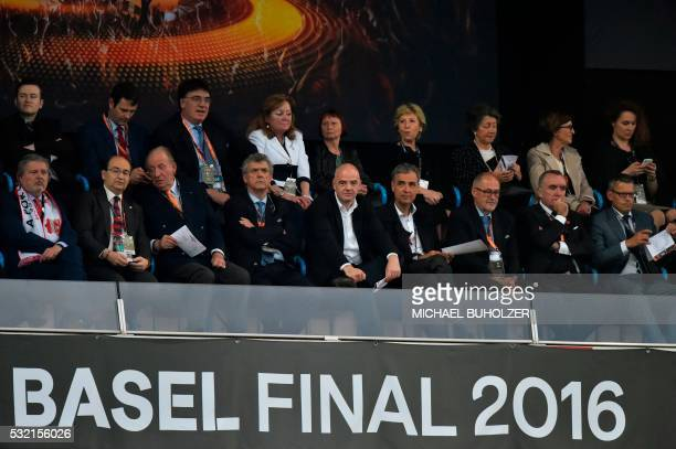 Officials including Spain's former King Juan Carlos UEFA acting president Angel Maria Villar Llona and FIFA president Gianni Infantino attend the...