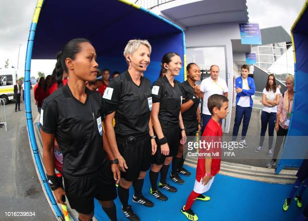 Officials Maria Salamasina Jane Adamkova AnnaMarie Keighley and Lata Kaumatule during the FIFA U20 Women's World Cup France 2018 group C match...