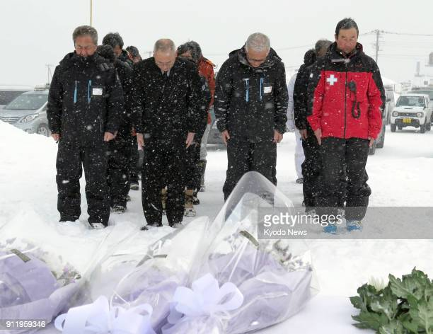 Officials of the Kusatsu Kokusai Ski Resort in Gunma Prefecture Japan pray for Takayuki Izawa on Jan 30 a week after the 49yearold Ground SelfDefense...