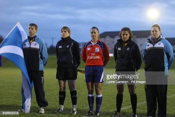 Official's Referee Sherry Trumbull assistant referees Mhairi Hay and Alex Pratt Fourth official Andy Law and fifth official Alexandra Gordon Smith