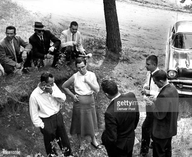 SEP 18 1958 SEP 20 1959 ***** officials reporters and photographers surround the Wright's Indian Hills cabin where body was loaded into the trunk of...