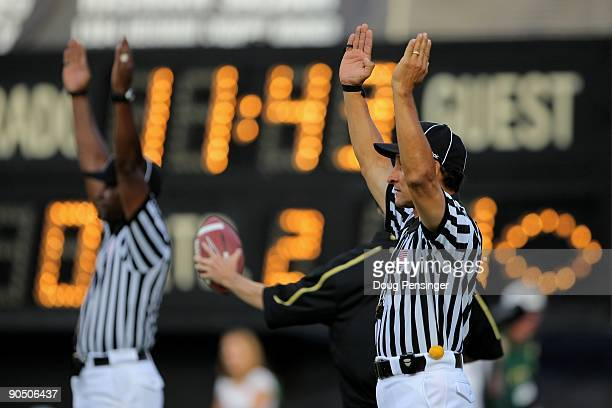 Officials signal a field goal as the Colorado State Rams face the Colorado Buffaloes at Folsom Field on September 6 2009 in Boulder Colorado The Rams...
