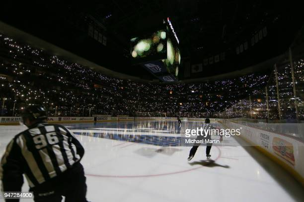 Officials take the ice prior to the start of the third period between the Colorado Avalanche and the Nashville Predators in Game Three of the Western...