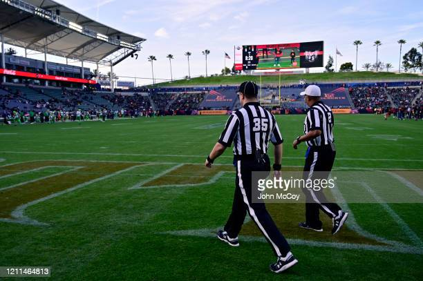 Officials walk onto the field before the LA Wildcats play the Tampa Bay Vipers at Dignity Health Sports Park during an XFL game on March 8 2020 in...