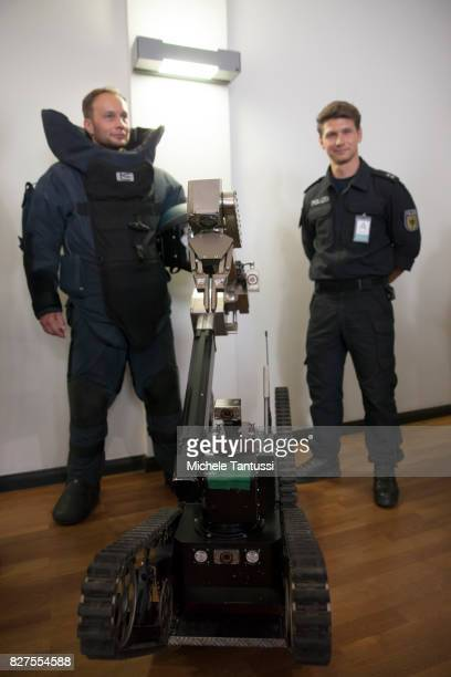 Officiers of the Police special forces or GSG9 stands during the opening of the new Headquarters on August 8 2017 in Berlin Starting from August all...