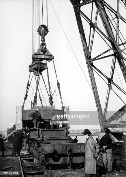 Offloading one of the giant roll housings shipped from American in the SS Wells City for the Abbey Strip mill, at Port Talbot docks. The housing...