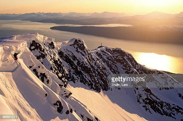 Off-piste skiing in the midnight sun, Norway.