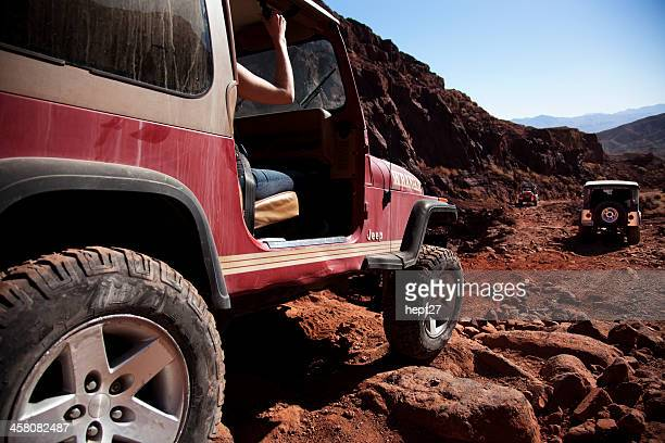 off-road in a jeep - jeep wrangler stock photos and pictures