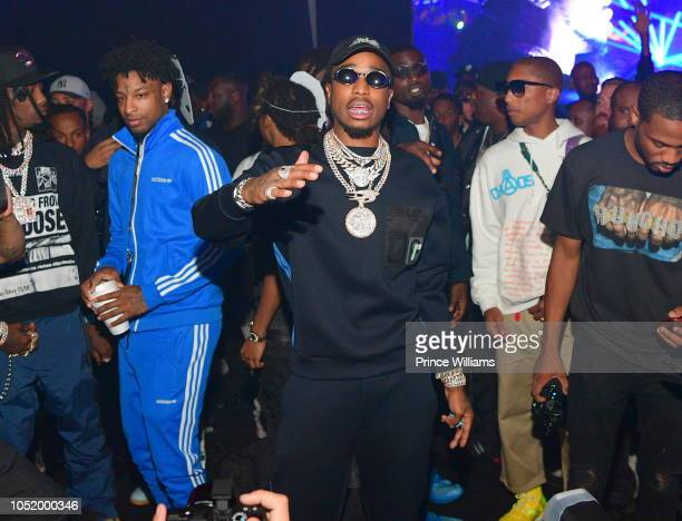 Offset 21 Savage Quavo and Pharrell Williams Attend Huncho reality 'The Album Release Experience on October 12 2018 in Los Angeles California