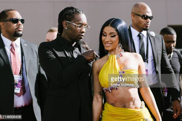 Offset and Cardi B arrive at the 2019 Billboard Music Awards at MGM Grand Garden Arena on May 01 2019 in Las Vegas Nevada