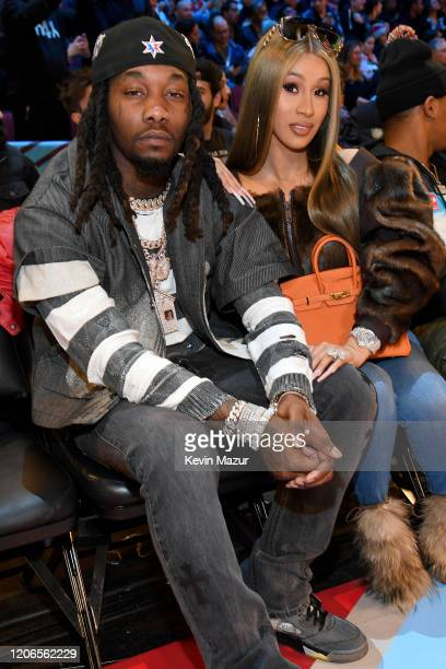Offset and Cardi B attend 2020 State Farm AllStar Saturday Night at United Center on February 15 2020 in Chicago Illinois