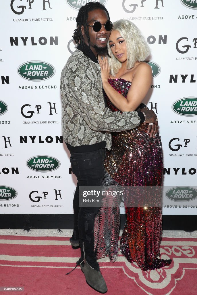Offset (L) and Cardi B attend NYLON's Rebel Fashion Party, powered by Land Rover, at Gramercy Terrace at Gramercy Park Hotel on September 12, 2017 in New York City.
