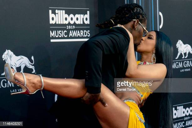 Offset and Cardi B attend the 2019 Billboard Music Award at MGM Grand Garden Arena on May 01 2019 in Las Vegas Nevada
