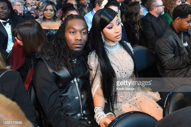 Offset and Cardi B during the 62nd Annual GRAMMY Awards at STAPLES Center on January 26 2020 in Los Angeles California