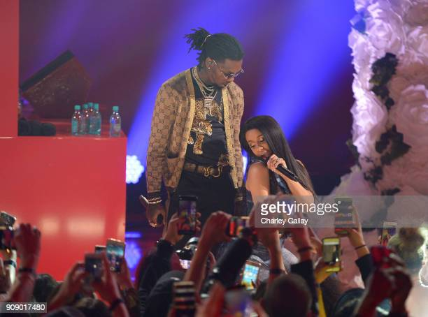 Offset and Cardi B perform onstage at iHeartRadio album release party with Migos presented by MAGNUM Large Size Condoms at iHeartRadio Theater on...