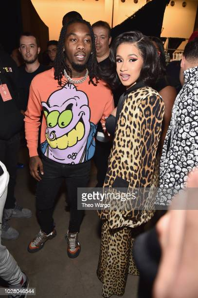 Offset and Cardi B pose backstage at the Jeremy Scott show during New York Fashion Week The Shows at Gallery I at Spring Studios on September 6 2018...