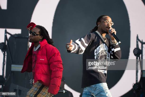Offset and Quavo of Migos perform on Day 2 of Wireless Festival 2018 at Finsbury Park on July 7 2018 in London England