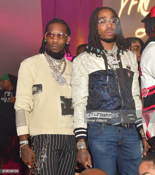 Offset and Quavo of The Group Migos attend Trap Du Soleil Celebrating YFN Lucci on February 13 2018 in Atlanta Georgia