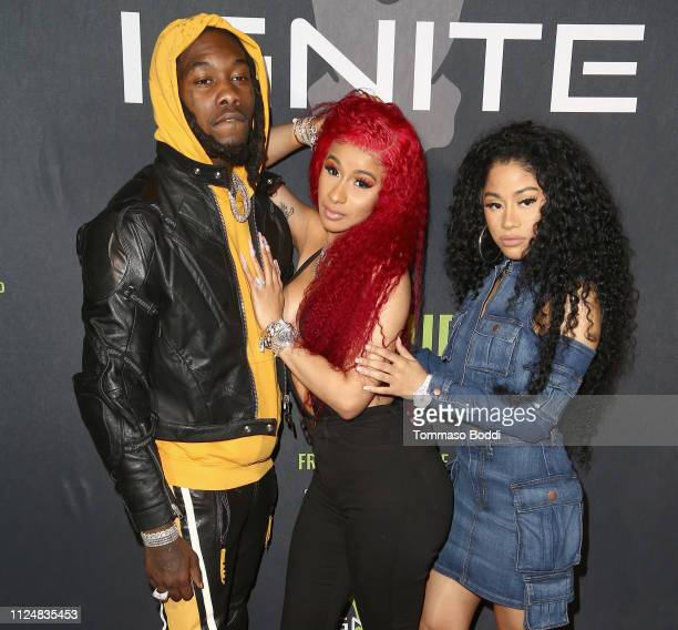 Offset Cardi B and Hennessy Carolina attend Ignite's Angels and Devils PreValentine's Day Party on February 13 2019 in Bel Air California