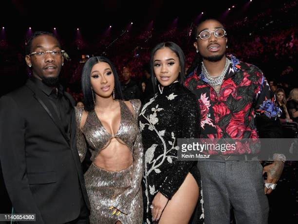 Offset of Migos Cardi B Saweetie and Quavo of Migos attend the 2019 Billboard Music Awards at MGM Grand Garden Arena on May 1 2019 in Las Vegas Nevada