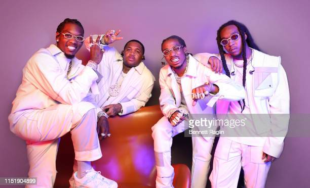 Offset of Migos, Mustard, and Quavo and Takeoff of Migos pose for a portrait during the BET Awards 2019 at Microsoft Theater on June 23, 2019 in Los...