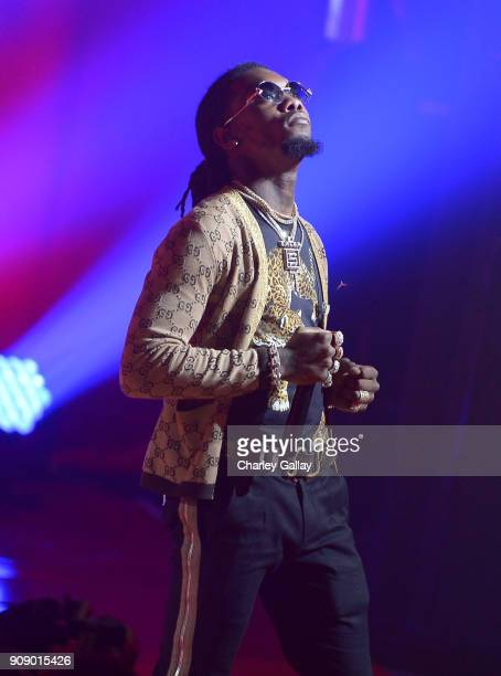 Offset of Migos performs onstage at iHeartRadio album release party with Migos presented by MAGNUM Large Size Condoms at iHeartRadio Theater on...