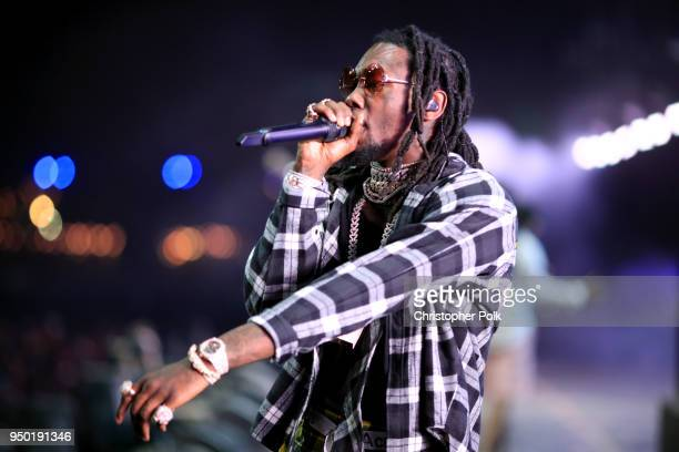 Offset of Migos performs onstage during the 2018 Coachella Valley Music And Arts Festival at the Empire Polo Field on April 22 2018 in Indio...