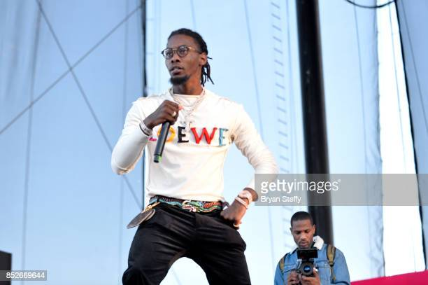 Offset of Migos performs onstage during the Daytime Village Presented by Capital One at the 2017 HeartRadio Music Festival at the Las Vegas Village...