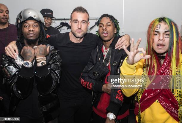 Offset Philipp Plein Rich The Kid and 6ix9ine backstage at The Philipp Plein Fashion show at Duggal Greenhouse on February 10 2018 in the Brooklyn...