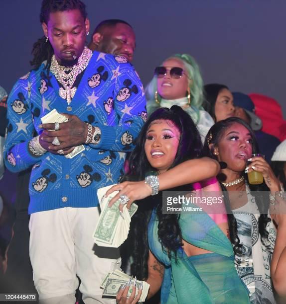"Offset, Pierre""Pee"" Thomas, Stefflon Don and Cardi B attend the Million Dollar Bowl at The Dome Miami on February 3, 2020 in Miami, Florida."