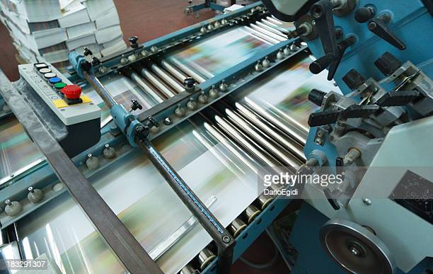 Offset printing machine while it's running, view from above