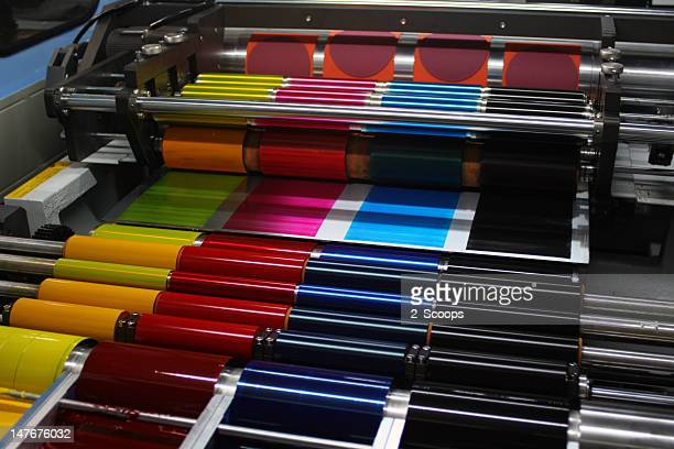 offset printing press cmyk ink rollers - printout stock pictures, royalty-free photos & images