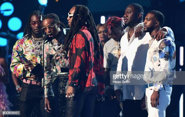 Offset Quavo and Takeoff of Migos accept the award for Best Group onstage at 2017 BET Awards at Microsoft Theater on June 25 2017 in Los Angeles...