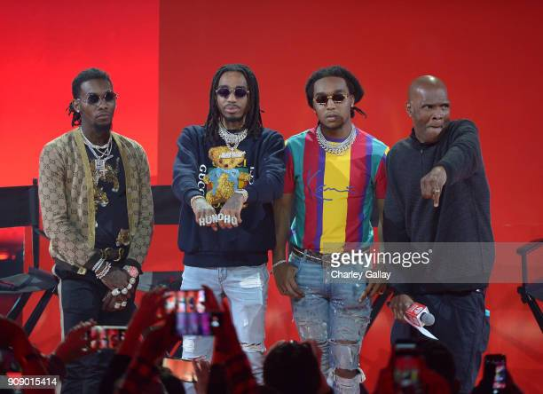 Offset Quavo and Takeoff of Migos and Big Boy onstage at iHeartRadio album release party with Migos presented by MAGNUM Large Size Condoms at...