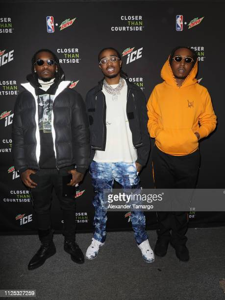 Offset Quavo and Takeoff of Migos at MTN DEW ICE Courtside Studios during NBA AllStar 2019 at Epicentre on February 16 2019 in Charlotte North...
