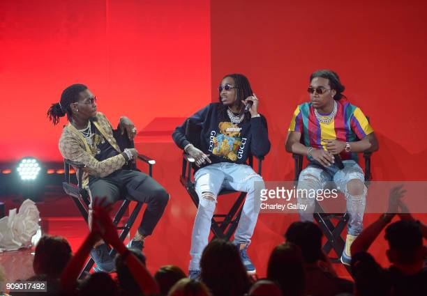 Offset Quavo and Takeoff of Migos speak onstage at iHeartRadio album release party with Migos presented by MAGNUM Large Size Condoms at iHeartRadio...