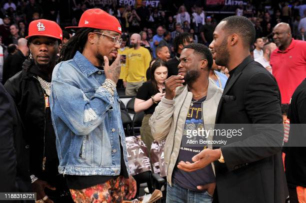 Offset Quavo Kevin Hart and Rich Paul attend a basketball game between the Los Angeles Lakers and the Atlanta Hawks at Staples Center on November 17...