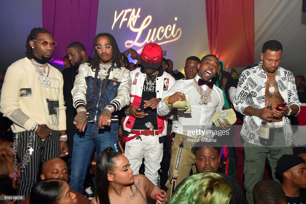 Offset, Quavo, Lil Boosie, YFN Lucci and Trouble attend trap Du Soleil Celebrating YFN Lucci on February 13, 2018 in Atlanta, Georgia.
