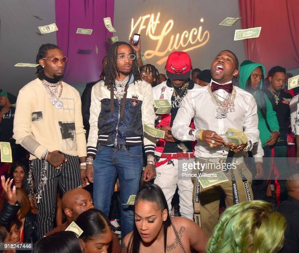 Offset, Quavo, YFN Lucci and Takeoff attend Trap Du Soleil Celebrating YFN Lucci on February 13, 2018 in Atlanta, Georgia.