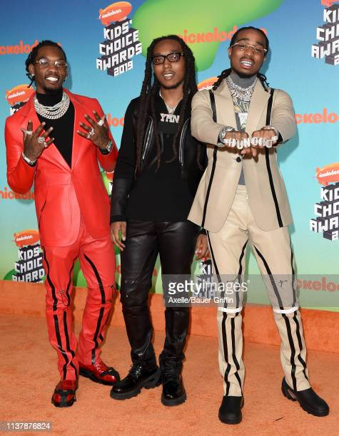 Offset Takeoff and Quavo of Migos attend Nickelodeon's 2019 Kids' Choice Awards at Galen Center on March 23 2019 in Los Angeles California
