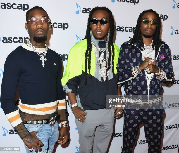 Offset, Takeoff and Quavo of Migos attend the 2018 ASCAP Rhythm & Soul Music Awards at the Beverly Wilshire Four Seasons Hotel on June 21, 2018 in...