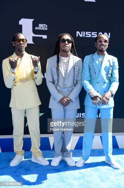 Offset, Takeoff, and Quavo of Migos attend the 2019 BET Awards on June 23, 2019 in Los Angeles, California.