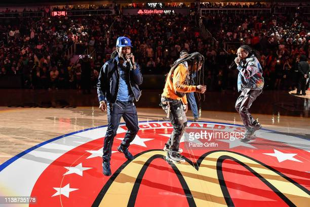 Offset, Takeoff and Quavo of Migos perform during the 42nd Annual McDonald's All American Games at State Farm Arena on March 27, 2019 in Atlanta,...
