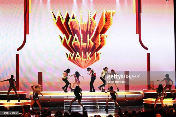 Offset Takeoff and Quavo of Migos perform onstage at the 2018 BET Awards at Microsoft Theater on June 24 2018 in Los Angeles California