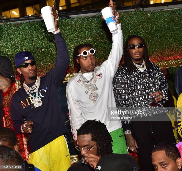 Offset Takeoff and Quavo of the group Migos attend Aubrey The Three Migos tour after party at Rosebar Lounge on September 13 2018 in Washington DC