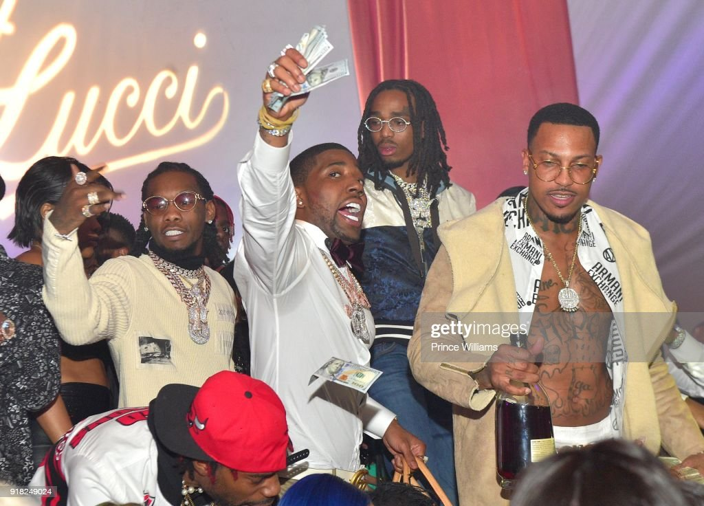 Offset, YFN Lucci, Quavo and Trouble attend Trap Du Soleil Celebrating YFN Lucci on February 13, 2018 in Atlanta, Georgia.