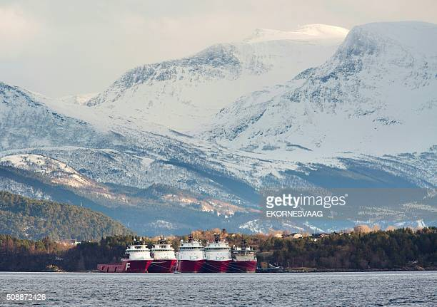 Offshore construction vessels stay outside Aalesund at the west coast of Norway on February 6 2016 The oil industry in Norway is struggling several...