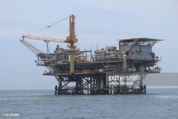 """Offshore natural gas platform """"Platform Habitat"""" off the coast of Southern California. This is the only platform off the coast of California that..."""