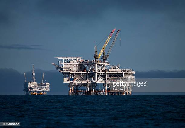 Offshore oil and gas platform Edith right and Eureka oil and gas platform stand in the Beta Field off the coast of Long Beach California US Senators...